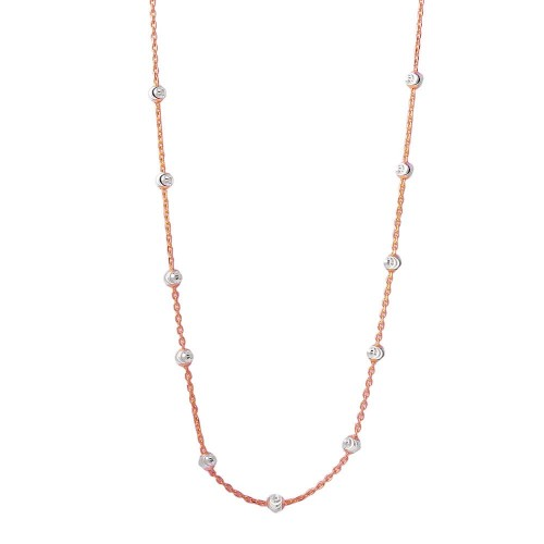 Wholesale Sterling Silver 925 Multi Diamond Cut Beads Two-Tone Rose Gold Plated Italian Necklace - ITN00134RGP
