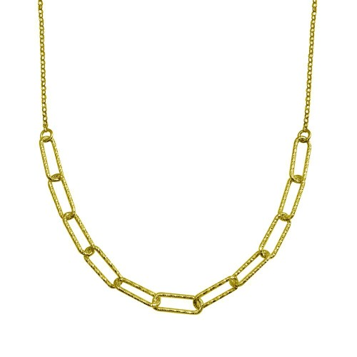 Wholesale Sterling Silver 925 Gold Plated Diamond Cut Link Chain Necklace - ITN00135-GP