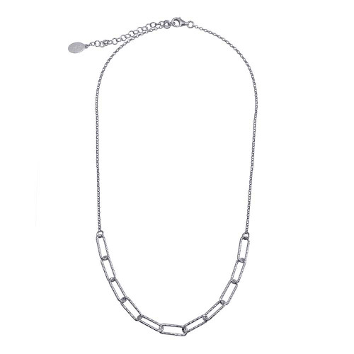 Wholesale Sterling Silver 925 Rhodium Plated Diamond Cut Link Chain Necklace - ITN00135-RH