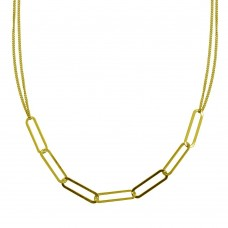 Wholesale Sterling Silver 925 Gold Plated Thin Curb Link Chain Necklace - ITN00136-GP