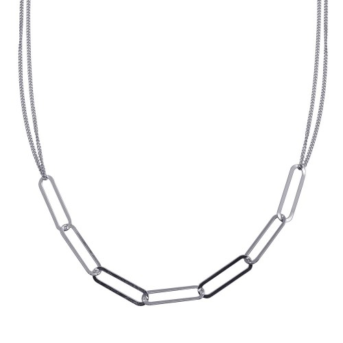 Wholesale Sterling Silver 925 Rhodium Plated Thin Curb Link Chain Necklace - ITN00136-RH