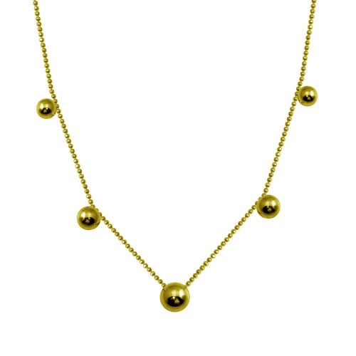 Wholesale Sterling Silver 925 Gold Plated 5 Beads Diamond Cut Link Chain Necklace - ITN00138-GP
