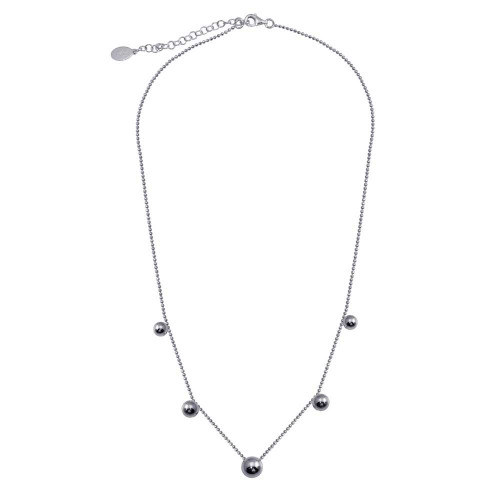 Wholesale Sterling Silver 925 Rhodium Plated 5 Beads Diamond Cut Link Chain Necklace - ITN00138-RH
