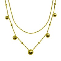 Wholesale Sterling Silver 925 Gold Plated Multi Beaded Chain Necklace - ITN00139-GP