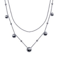 Wholesale Sterling Silver 925 Rhodium Plated Multi Beaded Chain Necklace - ITN00139-RH