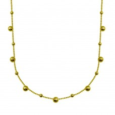 Wholesale Sterling Silver 925 Gold Plated Multi Beaded Chain Necklace - ITN00140-GP