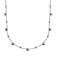 Wholesale Sterling Silver 925 Rhodium Plated Multi Beaded Chain Necklace - ITN00140-RH