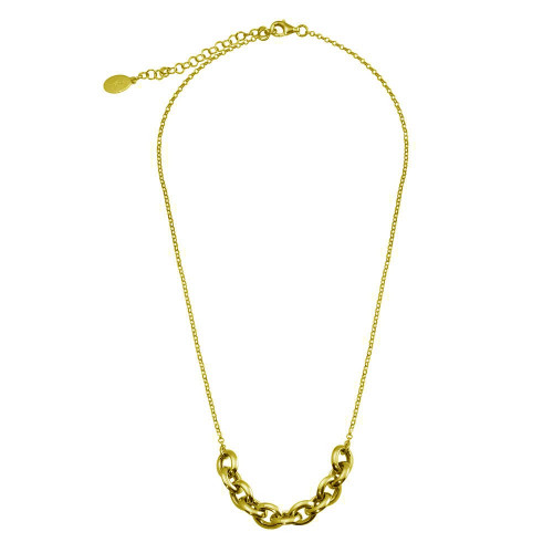 Wholesale Sterling Silver 925 Gold Plated Large Link Center Necklace  - ITN00141-GP