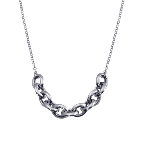 Wholesale Sterling Silver 925 Rhodium Plated Large Link Center Necklace  - ITN00141-RH