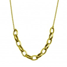 Wholesale Sterling Silver 925 Gold Plated Large Oval Link Center Necklace - ITN00142-GP