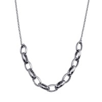 Wholesale Sterling Silver 925 Rhodium Plated Large Oval Link Center Necklace  - ITN00142-RH