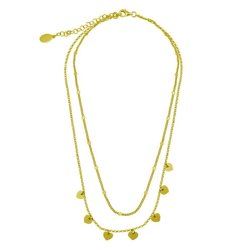 Wholesale Sterling Silver 925 Gold Plated Multi Chain Dangling Heart Charm Necklace  - ITN00143-GP