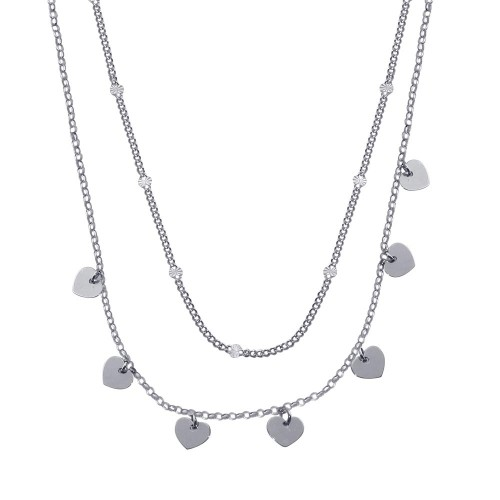 Wholesale Sterling Silver 925 Rhodium Plated Multi Chain Dangling Heart Charm Necklace  - ITN00143-RH
