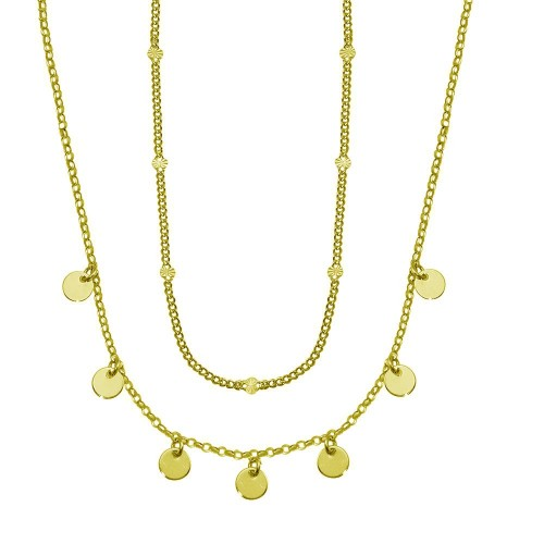 Wholesale Sterling Silver 925 Gold Plated Multi Chain Dangling Disc Charm Necklace - ITN00144-GP