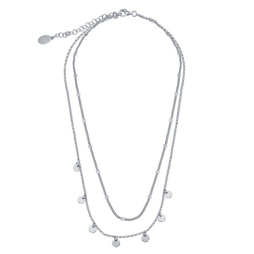 Wholesale Sterling Silver 925 Rhodium Plated Multi Chain Dangling Disc Charm Necklace - ITN00144-RH
