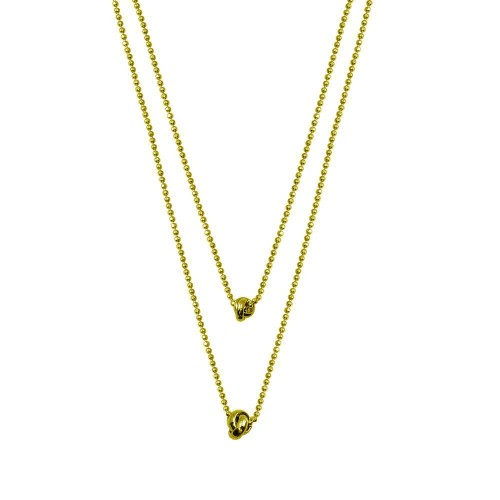 Wholesale Sterling Silver 925 Gold Plated Multi Beaded Chain Knot Charm Necklace - ITN00145-GP