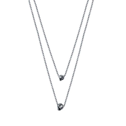 Wholesale Sterling Silver 925 Rhodium Plated Multi Beaded Chain Knot Charm Necklace - ITN00145-RH