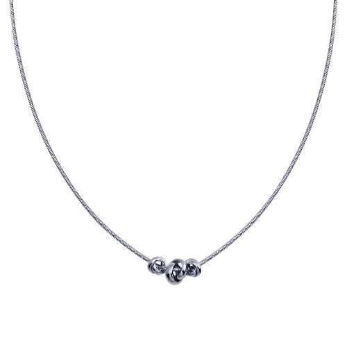 Wholesale Sterling Silver 925 Rhodium Plated DC Snake Chain Knot Charm Necklace - ITN00146-RH
