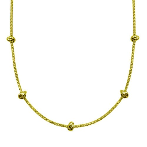 Wholesale Sterling Silver 925 Gold Plated Correana Chain 5 Knot Charm Necklace - ITN00147-GP