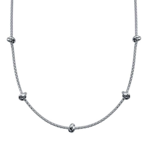 Wholesale Sterling Silver 925 Rhodium Plated Correana Chain 5 Knot Charm Necklace - ITN00147-RH