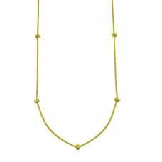 Wholesale Sterling Silver 925 Gold Plated Correana Chain 7 Knot Charm Necklace - ITN00148-GP