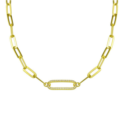 Wholesale Sterling Silver 925 Gold Plated Paperclip Chain CZ Necklace - ITN00149-GP