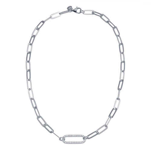 Wholesale Sterling Silver 925 Rhodium Plated Paperclip Chain CZ Necklace - ITN00149-RH