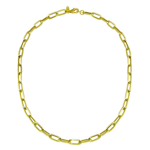 Wholesale Sterling Silver 925 Gold Plated Paperclip Chain Necklace - ITN00150-GP