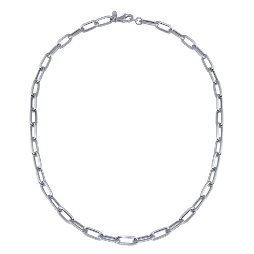 Wholesale Sterling Silver 925 Rhodium Plated Paperclip Chain Necklace - ITN00150-RH