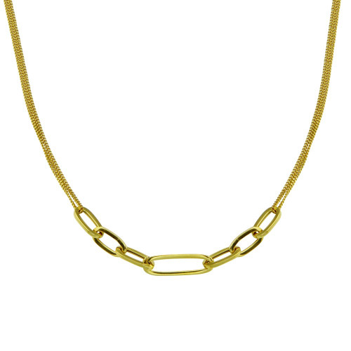 Wholesale Sterling Silver 925 Gold Plated  Cuban Paperclip Chain Necklace - ITN00151-GP