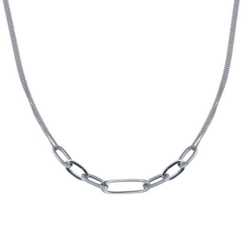 Wholesale Sterling Silver 925 Rhodium Plated  Cuban Paperclip Chain Necklace - ITN00151-RH