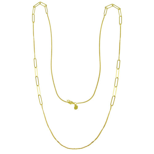 Wholesale Sterling Silver 925 Gold Plated Paperclip Chain Necklace - ITN00152-GP