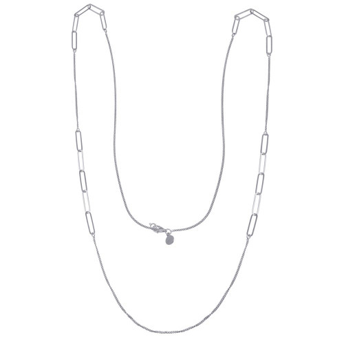 Wholesale Sterling Silver 925 Rhodium Plated Paperclip Chain Necklace - ITN00152-RH