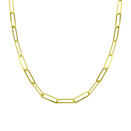 Wholesale Sterling Silver 925 Gold Plated Paperclip Chain Necklace - ITN00153-GP