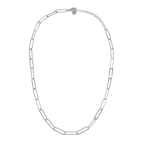 Wholesale Sterling Silver 925 Rhodium Plated Paperclip Chain Necklace - ITN00153-RH