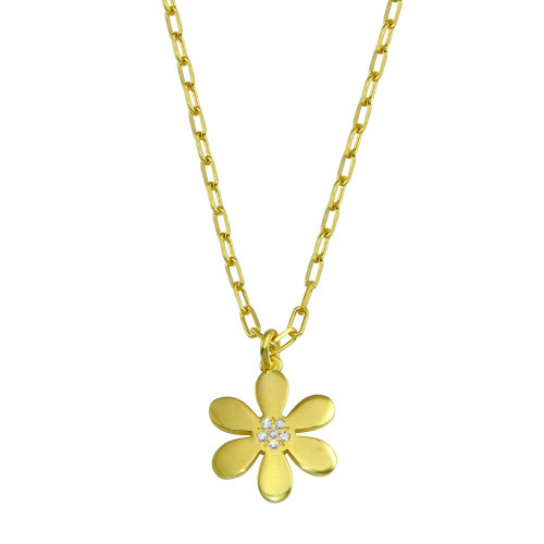 Wholesale Sterling Silver 925 Gold Plated Paperclip Chain Flower CZ Necklace - ITN00154-GP