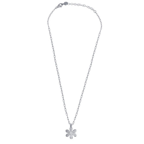 Wholesale Sterling Silver 925 Rhodium Plated Paperclip Chain Flower CZ Necklace - ITN00154-RH