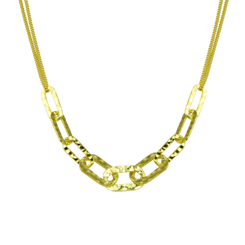 Wholesale Sterling Silver 925 Gold Plated Paperclip Chain Textured Necklace - ITN00155-GP