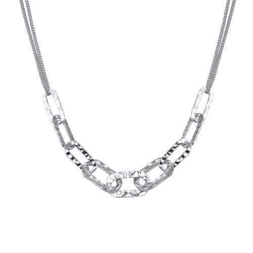 Wholesale Sterling Silver 925 Rhodium Plated Paperclip Chain Textured Necklace - ITN00155-RH