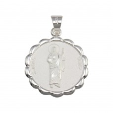 Wholesale Sterling Silver 925 High Polished Round Flower Edge St. Jude Medallion Pendant - JCA021-5