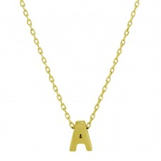 Sterling Silver Gold Plated Small Initial A Necklace - JCP00001GP-A