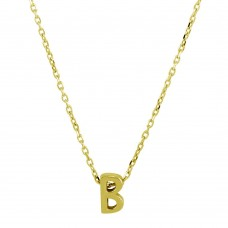 Sterling Silver Gold Plated Small Initial B Necklace - JCP00001GP-B