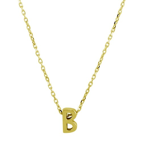 Wholesale Sterling Silver 925 Gold Plated Small Initial B Necklace - JCP00001GP-B