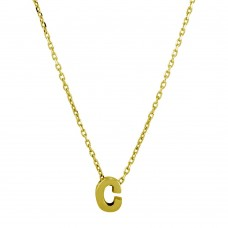 Wholesale Sterling Silver 925 Gold Plated Small Initial C Necklace - JCP00001GP-C