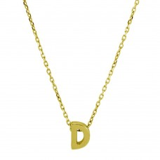 Sterling Silver Gold Plated Small Initial D Necklace - JCP00001GP-D