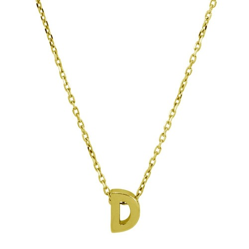 Wholesale Sterling Silver 925 Gold Plated Small Initial D Necklace - JCP00001GP-D