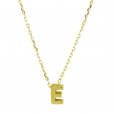 Sterling Silver Gold Plated Small Initial E Necklace - JCP00001GP-E