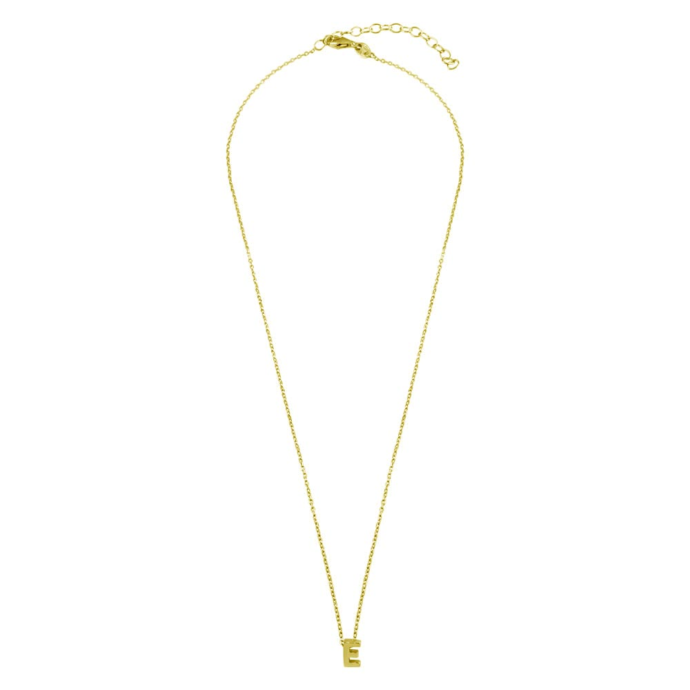 Wholesale Sterling Silver 925 Gold Plated Small Initial E Necklace - JCP00001GP-E