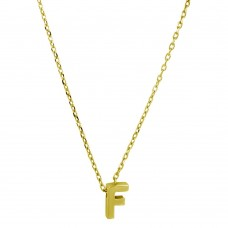 Sterling Silver Gold Plated Small Initial F Necklace - JCP00001GP-F