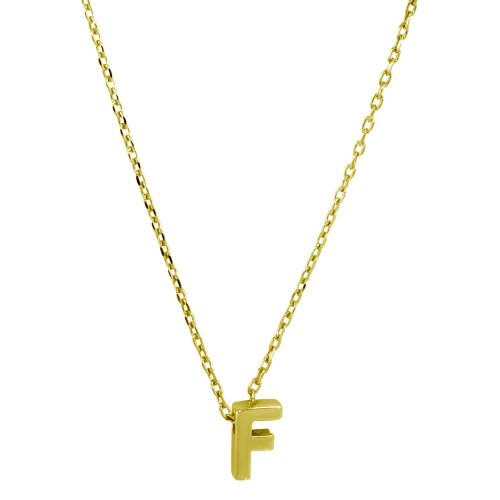 Wholesale Sterling Silver 925 Gold Plated Small Initial F Necklace - JCP00001GP-F